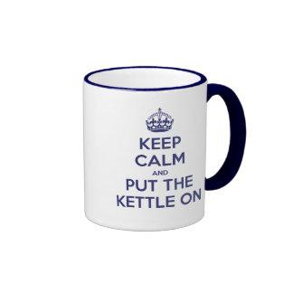 Keep Calm and Put The Kettle On Ringer Coffee Mug