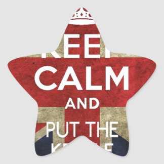 KEEP CALM AND PUT THE KETTLE ON STAR STICKER