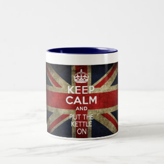 KEEP CALM AND PUT THE KETTLE ON Two-Tone COFFEE MUG