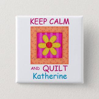 Keep Calm and Quilt Applique Flower Block Button