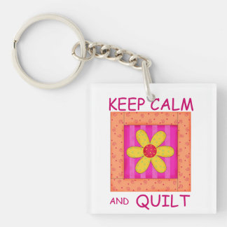 Keep Calm and Quilt Applique Flower Block Double-Sided Square Acrylic Keychain