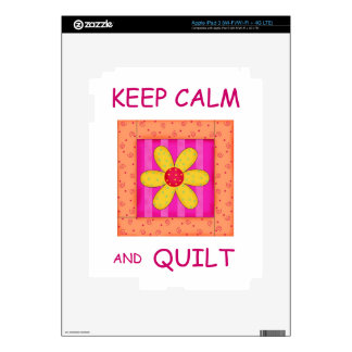 Keep Calm and Quilt Applique Flower Block iPad 3 Skin