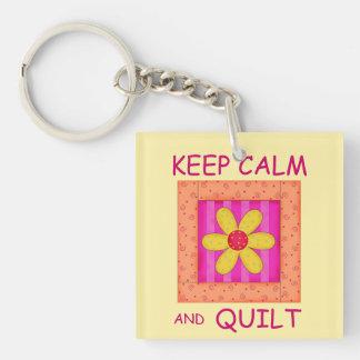 Keep Calm and Quilt Applique Flower Block Keychain