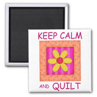 Keep Calm and Quilt Applique Flower Block Magnet