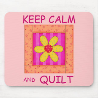 Keep Calm and Quilt Applique Flower Block Mouse Pad