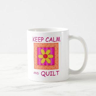 Keep Calm and Quilt Applique Flower Block Classic White Coffee Mug
