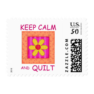 Keep Calm and Quilt Applique Flower Block Postage