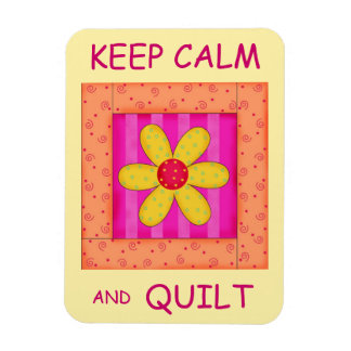 Keep Calm and Quilt Applique Flower Block Magnets
