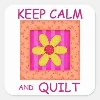 Keep Calm and Quilt Applique Flower Block Square Sticker