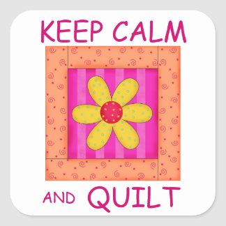Keep Calm and Quilt Applique Flower Block Sticker