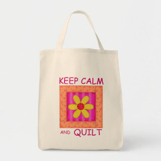 Keep Calm and Quilt Applique Flower Block Tote Bag