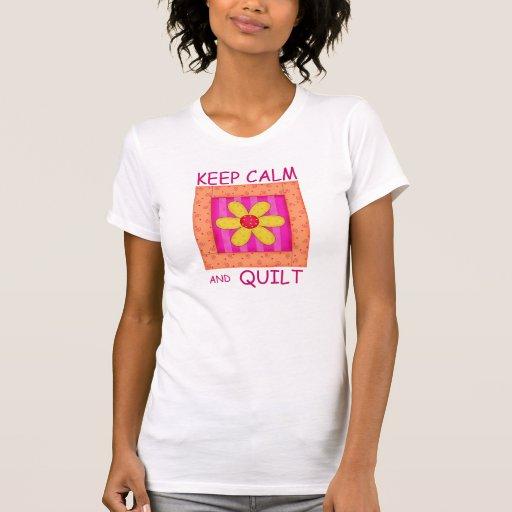 Keep Calm and Quilt Applique Flower Block T-shirts