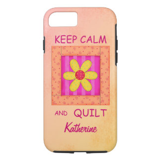 Keep Calm and Quilt Block Personalized Your Name iPhone 8/7 Case