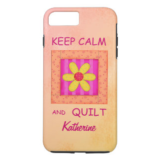 Keep Calm and Quilt Block Personalized Your Name iPhone 8 Plus/7 Plus Case
