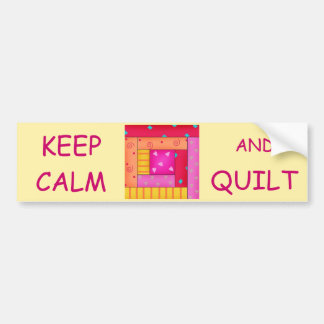 Keep Calm and Quilt Colorful Log Cabin Block Car Bumper Sticker