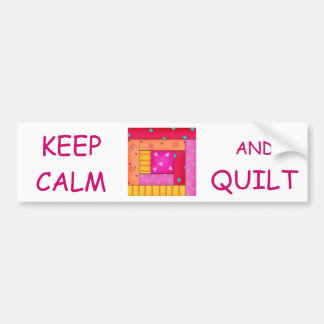 Keep Calm and Quilt Colorful Log Cabin Block Bumper Stickers