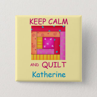 Keep Calm and Quilt Colorful Log Cabin Block Button