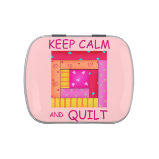 Keep Calm and Quilt Colorful Log Cabin Block Candy Tin