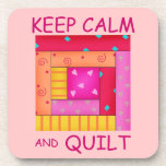 Keep Calm and Quilt Colorful Log Cabin Block Drink Coaster