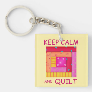 Keep Calm and Quilt Colorful Log Cabin Block Double-Sided Square Acrylic Keychain