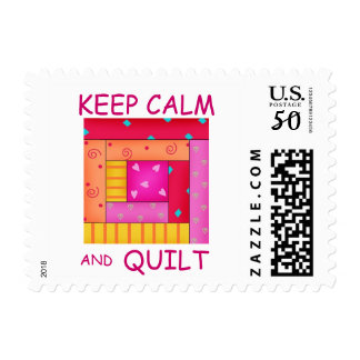 Keep Calm and Quilt Colorful Log Cabin Block Postage
