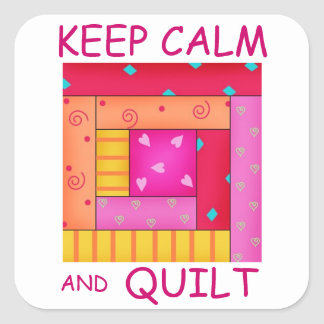 Keep Calm and Quilt Colorful Log Cabin Block Square Sticker