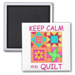 Keep Calm and Quilt Colorful Patchwork Blocks 2 Inch Square Magnet