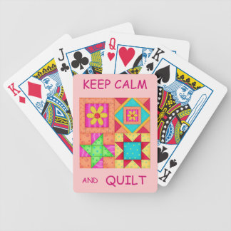 Keep Calm and Quilt Colorful Patchwork Blocks Bicycle Playing Cards