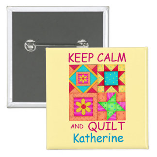 Keep Calm and Quilt Colorful Patchwork Blocks Button