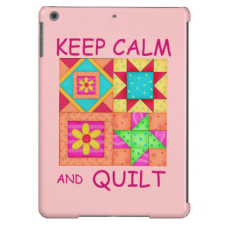 Keep Calm and Quilt Colorful Patchwork Blocks iPad Air Covers