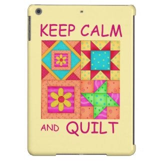 Keep Calm and Quilt Colorful Patchwork Blocks iPad Air Cover