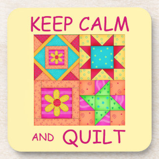 Keep Calm and Quilt Colorful Patchwork Blocks Beverage Coaster