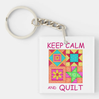 Keep Calm and Quilt Colorful Patchwork Blocks Double-Sided Square Acrylic Keychain