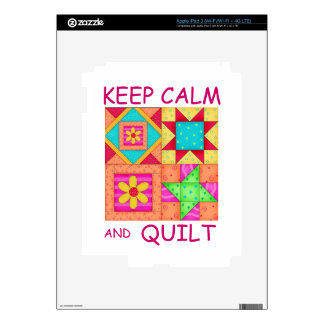 Keep Calm and Quilt Colorful Patchwork Blocks iPad 3 Decals
