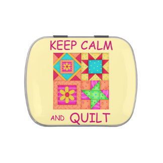 Keep Calm and Quilt Colorful Patchwork Blocks Jelly Belly Candy Tin