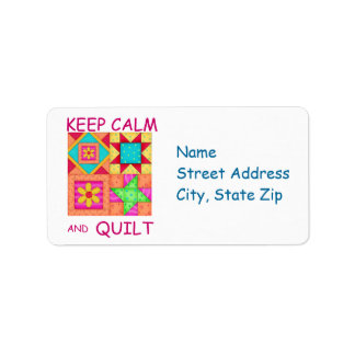 Keep Calm and Quilt Colorful Patchwork Blocks Label