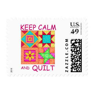 Keep Calm and Quilt Colorful Patchwork Blocks Postage