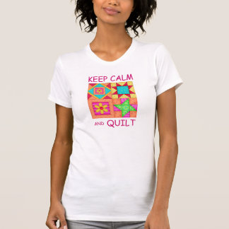 Keep Calm and Quilt Colorful Patchwork Blocks Tee Shirt