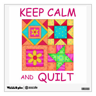 Keep Calm and Quilt Colorful Patchwork Blocks Wall Decal