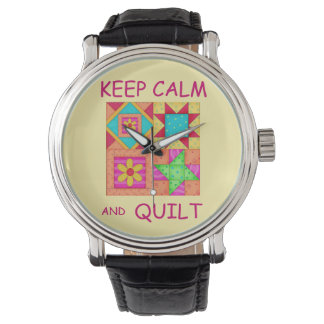 Keep Calm and Quilt Colorful Patchwork Blocks Wrist Watch