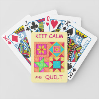 Keep Calm and Quilt For Block  Colorful Patchwork Bicycle Playing Cards
