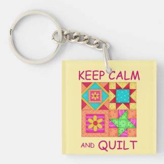 Keep Calm and Quilt For Block  Colorful Patchwork Double-Sided Square Acrylic Keychain