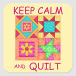 Keep Calm and Quilt For Block  Colorful Patchwork Square Stickers