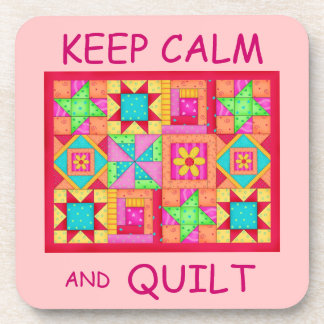 Keep Calm and Quilt Multi Block Patchwork Quilt Beverage Coaster
