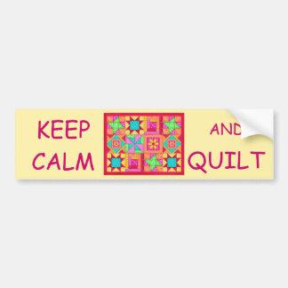 Keep Calm and Quilt Multi Block Patchwork Quilt Car Bumper Sticker