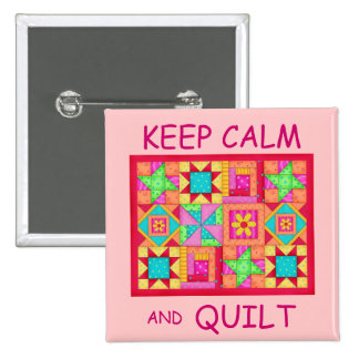 Keep Calm and Quilt Multi Block Patchwork Quilt Pin