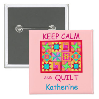 Keep Calm and Quilt Multi Block Patchwork Quilt Pinback Button