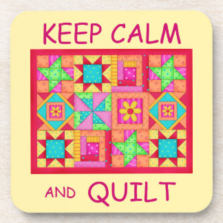 Keep Calm and Quilt Multi Block Patchwork Quilt Coasters