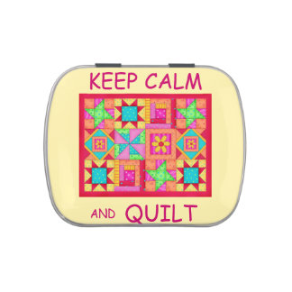 Keep Calm and Quilt Multi Block Patchwork Quilt Jelly Belly Candy Tin