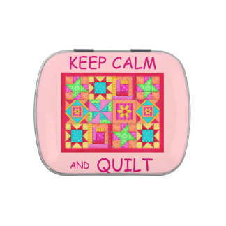 Keep Calm and Quilt Multi Block Patchwork Quilt Jelly Belly Candy Tins